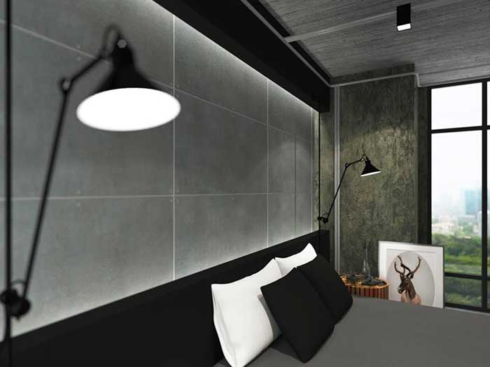 Decorate bedroom to be loft style by using SCG cement board