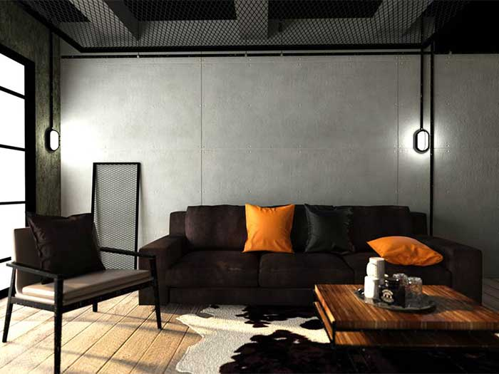 Decorate living room to be loft style by using SCG cement board