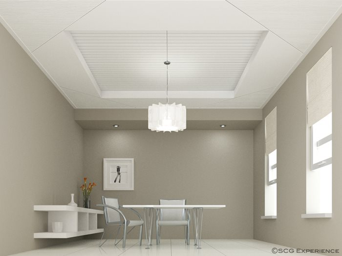 Fiber cement board ceiling painted in white