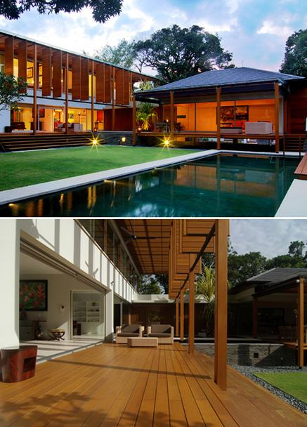 Wood modern-style house design for tropical countries