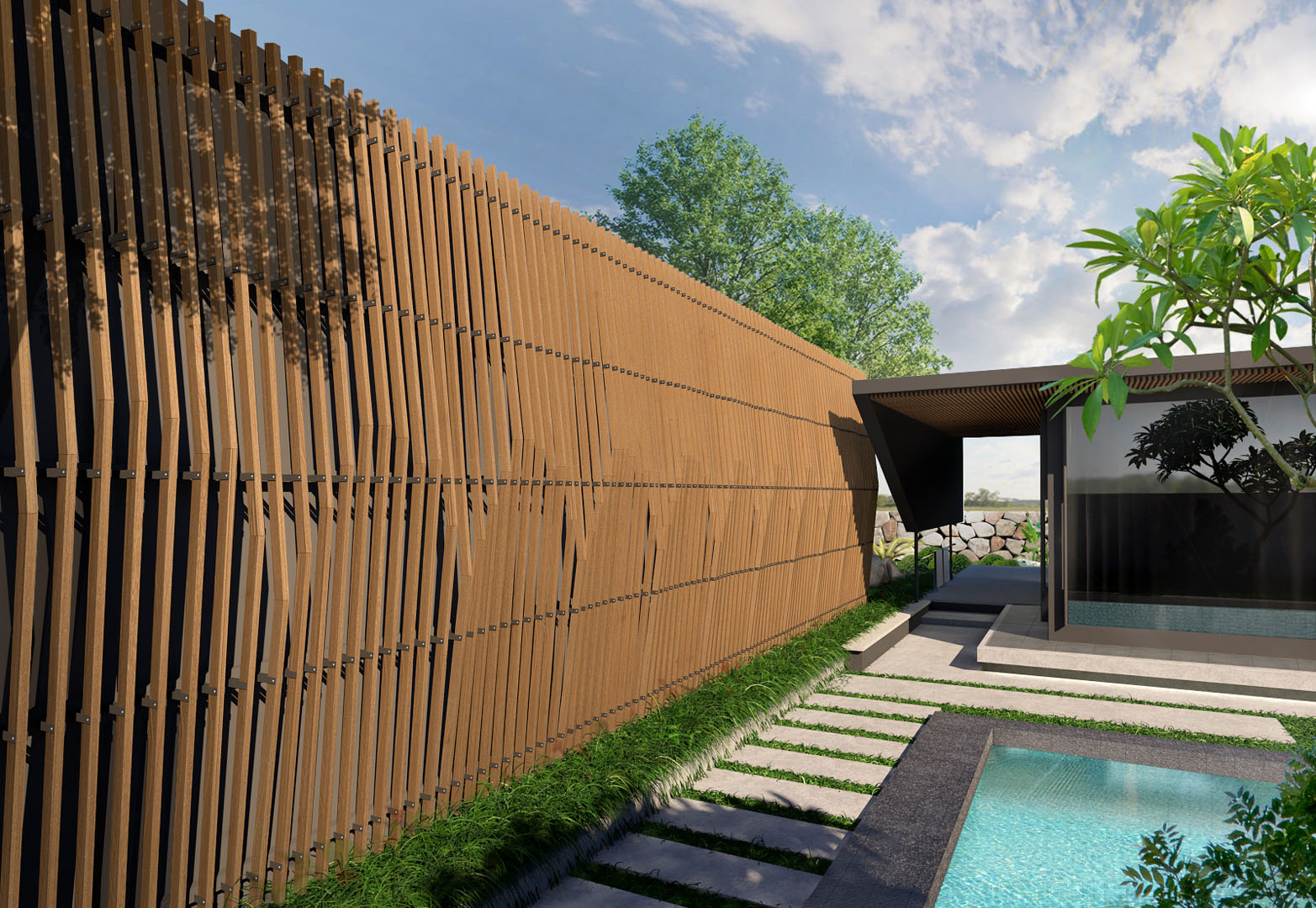 Artificial Wood Sunshade Louvers for resort