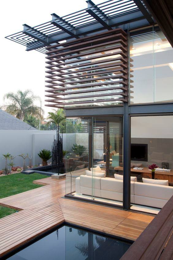Reduce heat by Artificial Wood Sunshade Louvers