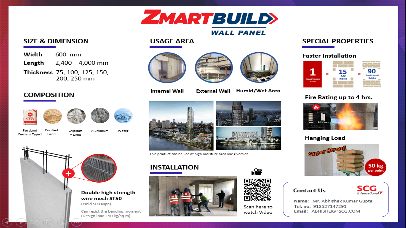 ZMARTBUILD Wall Panel - AAC Panel Supplier in Mumbai