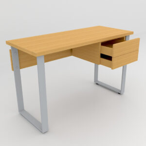 Rockworth Desk with Slim Loop Leg with 2 Drawer Beech finish