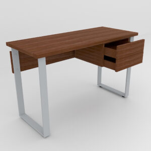 Rockworth Desk with Slim Loop Leg with 2 Drawer Walnut finish