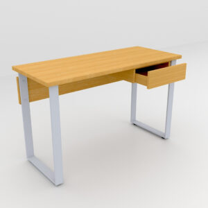 Rockworth Desk with Slim Loop Leg with Single Drawer Beech Finish