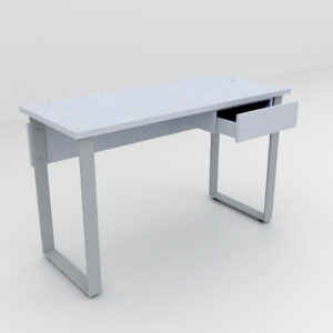 Rockworth Desk with Slim Loop Leg with Single Drawer Grey Finish