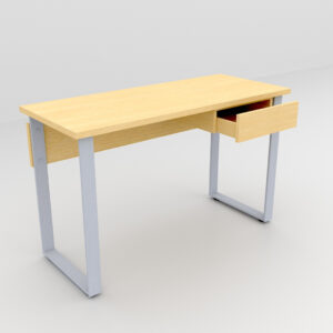 Rockworth Desk with Slim Loop Leg with Single Drawer Maple Finish