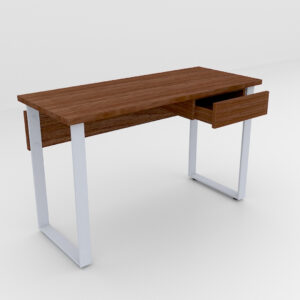 Rockworth Desk with Slim Loop Leg with Single Drawer Walnut Finish