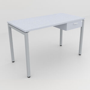 Rockworth Desk with Square Profile Stright Leg and 1 drawer Grey finish