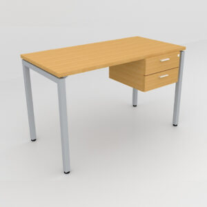 Rockworth Desk with Square Profile Stright Leg and 2 drawer beech finish
