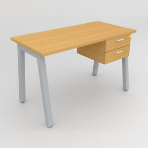 Rockworth Desk with Square Profile Taper Leg and 2 drawer beech finish