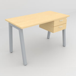 Rockworth Desk with Square Profile Taper Leg and 2 drawer maple finish