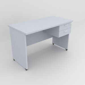 Rockworth Wooden Desk with 2 Drawers, modesty and gable end Grey finish