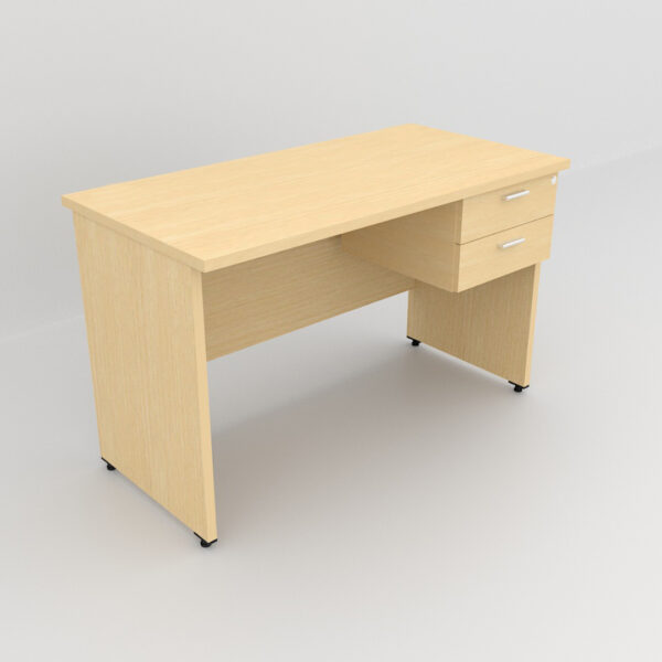Rockworth Wooden Desk with 2 Drawers, modesty and gable end Maple finish