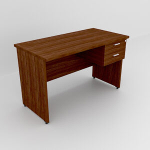 Rockworth Wooden Desk with 2 Drawers, modesty and gable end Walnut finish